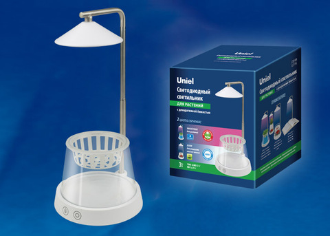 ULT-P36-3W/4000K+SPSB IP40 WHITE Светильник для растений светодиодный, с подставкой и декоративной емкостью. Белый свет(4000K) + cпектр для рассады и цветения. TM Uniel.
