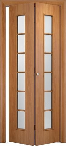 Дверь складная Верда С-12 (2 полотна), белое матовое, цвет миланский орех, остекленная
