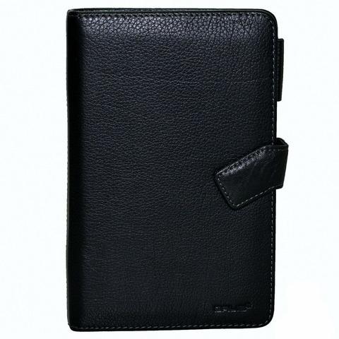 Органайзер записная книжка блокнот чёрный формат А5 из натуральной кожи со сменными блоками отделениями для визиток и авторучки GALIB 8М242