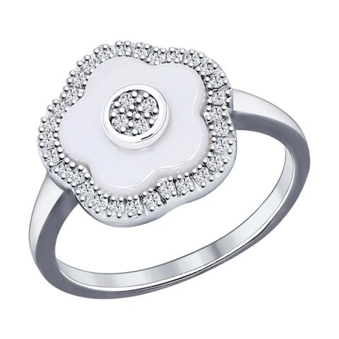 Кольцо из серебра с  белой керамикой и фианитами  арт.94011621