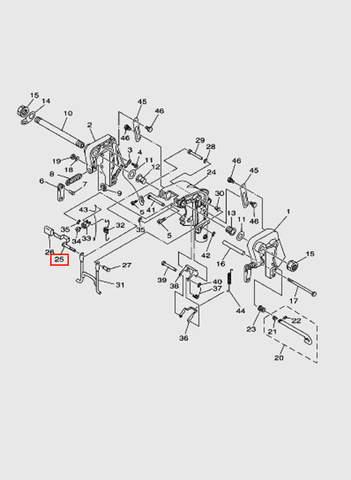 Рычаг поворотный в сборе  для лодочного мотора T15, OTH 9,9 SEA-PRO (13-25)