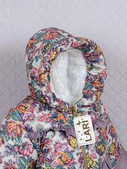 Костюм Аленка курточка + полукомбинезон ( лилово-беж/серый) 68-74 см