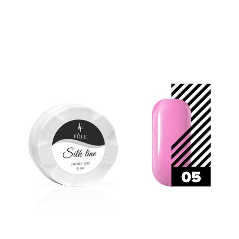 Гель-краска для тонких линий POLE Silk line №05 розовая (6 мл.)