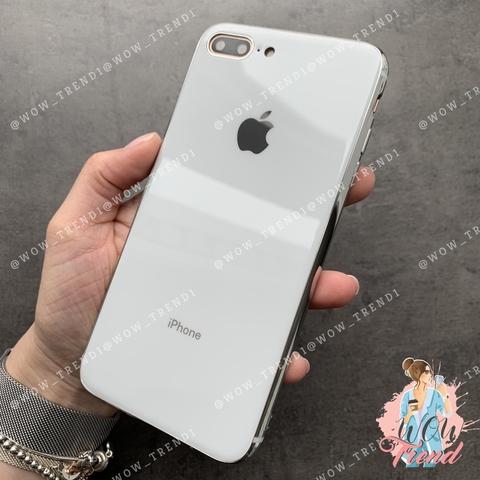 Чехол iPhone 7/8 Plus Glass Silicone Case Logo /white/