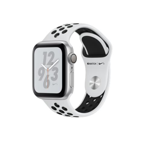 Apple Watch Series 4 Nike+ GPS, 40mm, корпус из алюминия серебристого цвета, спортивный ремешок Nike цвета «чистая платина/черный»