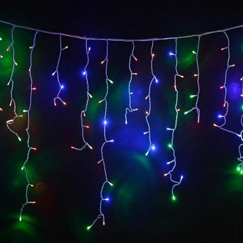 Светодиодная бахрома 3*0,6 прозрачный провод, Мульти