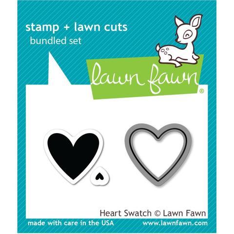 Набор штампов + координирующие НОЖИ Lawn Fawn Clear Stamps 5х8см - Heart Swatch