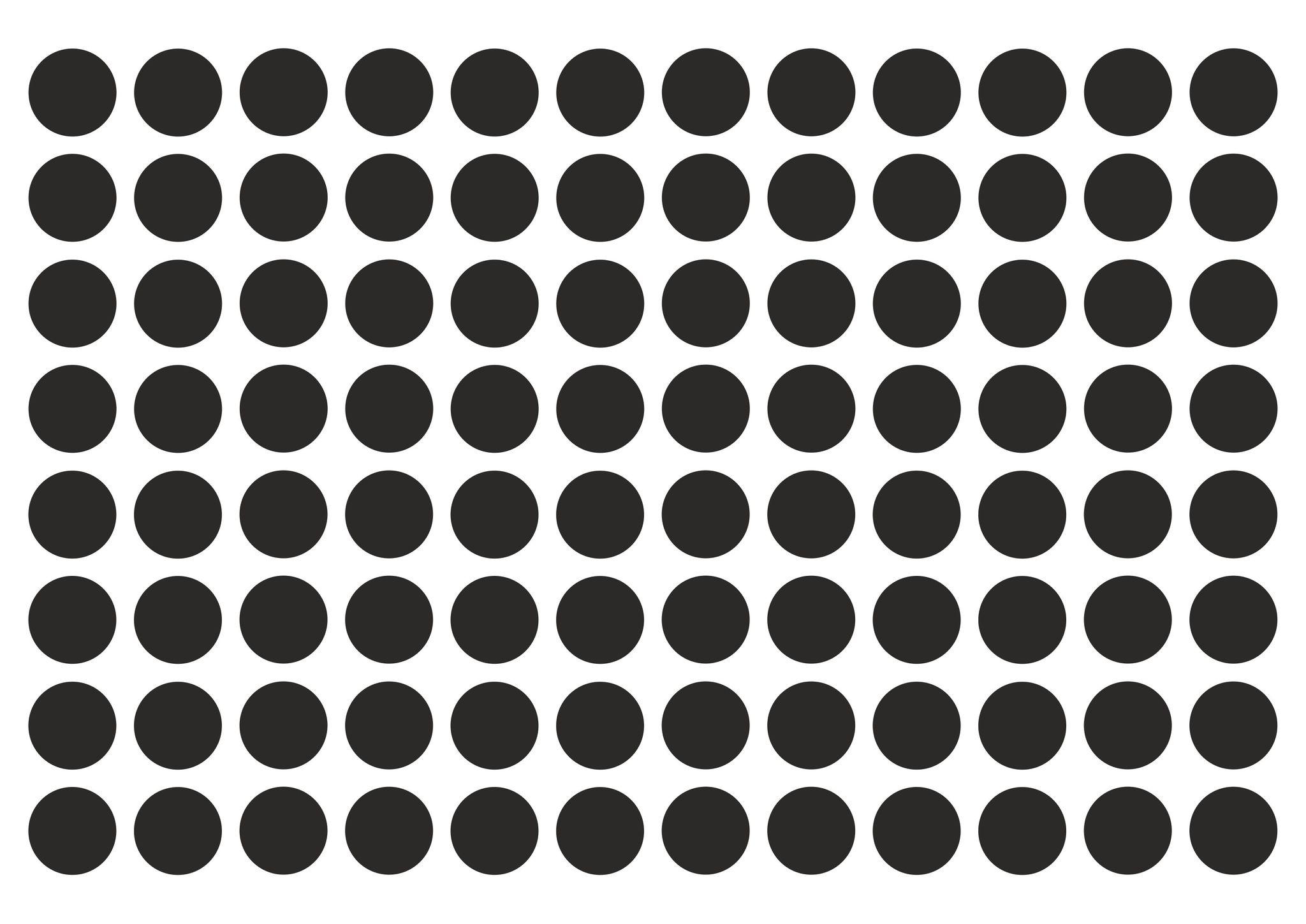 Набор наклеек 2*2 см круглые, черные