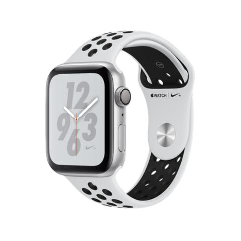 Apple Watch Series 4 Nike+ GPS, 44mm, корпус из алюминия серебристого цвета, спортивный ремешок Nike цвета «чистая платина/черный»