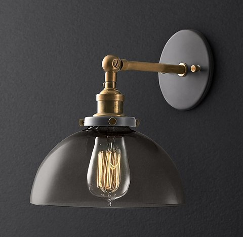 20th C. Factory Filament Smoke Glass Dome Sconce