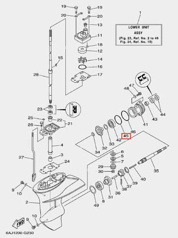 Кольцо малое стакана редуктора для лодочного мотора F20 Sea-PRO (23-45)
