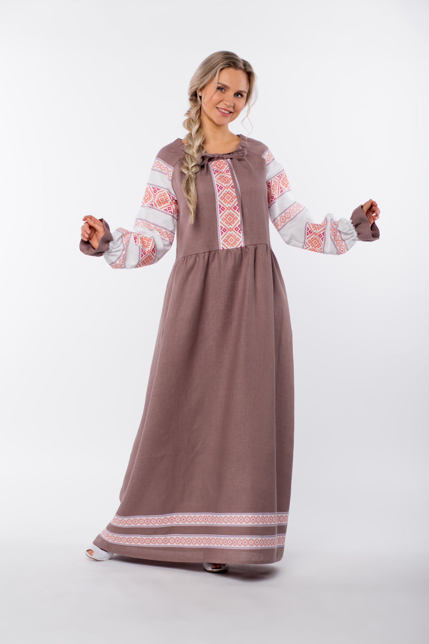 Платье льняное Родные берега без пояса