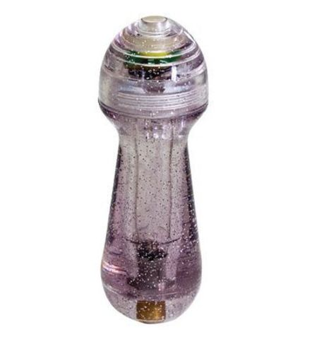 Фиолетовый мини-вибратор с блёстками Gleamer - 11,5 см.