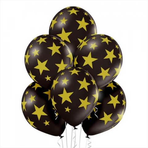 Шары Золотые звезды на черном