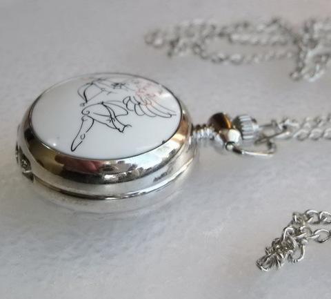 """Часы на цепочке """"Амурчик"""" с зеркальцем (цвет - платина) 44х29х13 мм"""