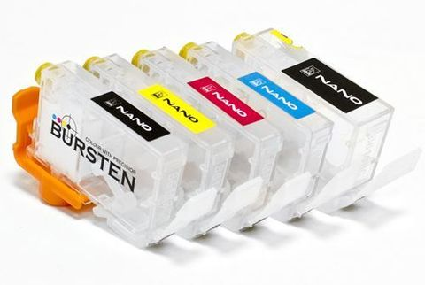 Комплект НАНО-картриджей BURSTEN NANO 2 для принтеров CANON iP3300, iP3500, iP4200, iP4300, iP4500, iP5200, iP5300, iX4000, iX5000, MP500, MP530, MP600, MP610, MP800, MP810, MP830 (PGI-5/CLI-8) x 5 шт.