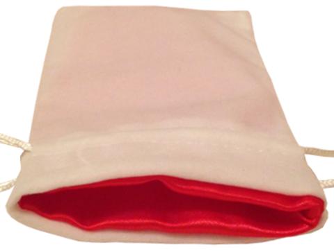 Белый бархатный мешочек для кубиков с красной атласной подкладкой
