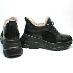 Черные массивные кроссовки с черной подошвой женские зимние Studio27 547c All Black.