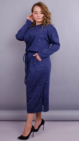 Леся. Оригинальное платье для дам size plus. Синий.