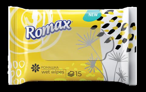 Фабрика Ромакс Romax Влажные салфетки гигиенические освежающие с ароматом ромашки 15 шт.