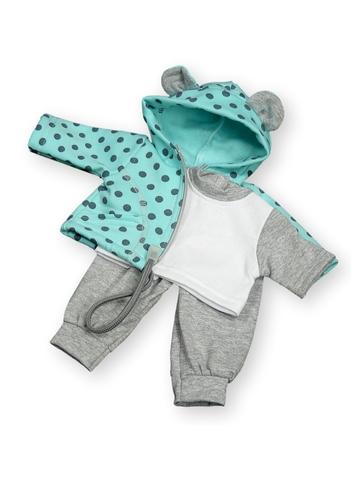 Трикотажный костюм - Бирюзовый. Одежда для кукол, пупсов и мягких игрушек.