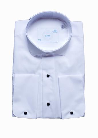 Сорочка Dion под бабочку белая приталенная черные пуговицы