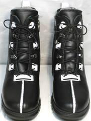 Женские кожаные ботинки зима Ripka 3481 Black-White.
