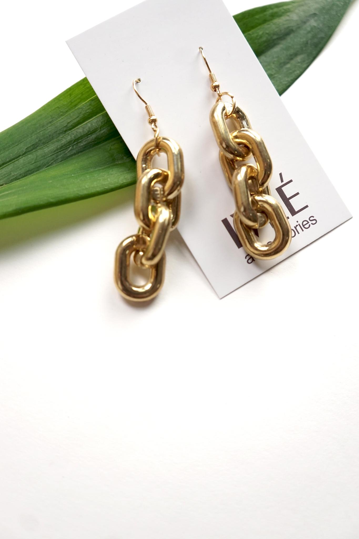 Серьги золотая полая цепь 4 звена
