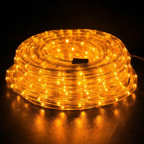 комплект готовый из 10 метров шланга дюралайт круглого с коннектором вилкой сетевой желтый цвет