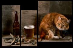 """Модульная картина """"Рыжий кот"""""""