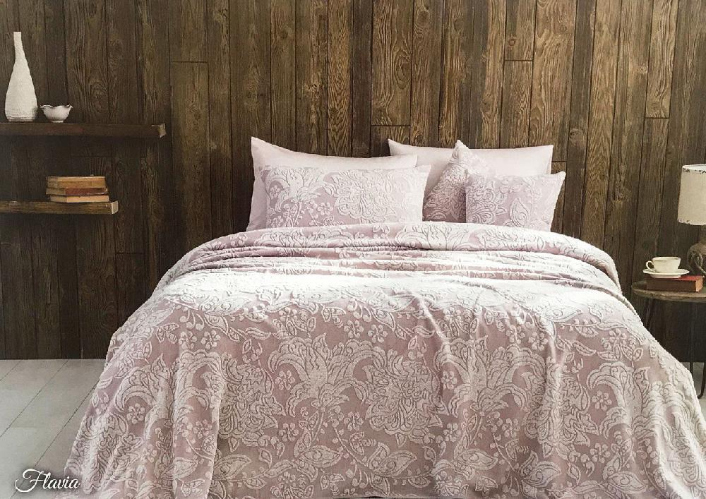 Простыни махровые Покрывало пике  FLAVIA сухая роза TIVOLYO HOME Турция FLAVIA-ГРЯЗНО-РОЗОВЫЙ.jpg