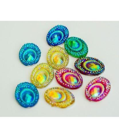 65 стразы овальные разноцветные 10 шт