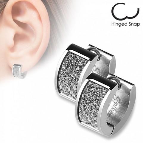 Оригинальные женские красивые стильные серьги кольцами с алмазным блеском из нержавеющей медицинской хирургической ювелирной стали 316L SPIKES SEZ-08