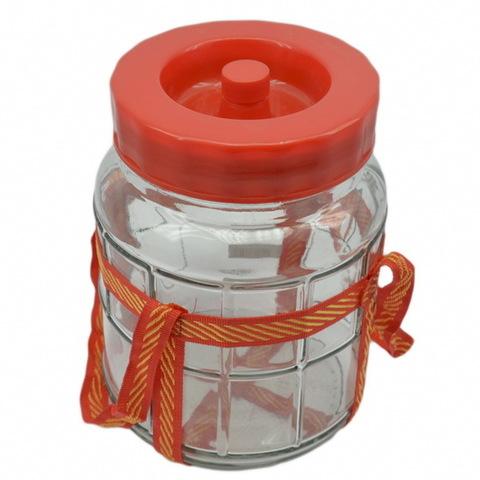 Банка стеклянная 5 литров, с гидрозатвором, крышкой и оплеткой