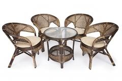 Комплект для отдыха Пеланги (PELANGI)  02/15 ( стол со стеклом + 4 кресла ) — walnut (грецкий орех)
