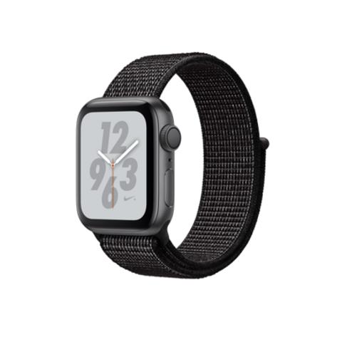 Apple Watch Series 4 Nike+ GPS, 40mm, корпус из алюминия цвета «серый космос», спортивный браслет (Sport Loop) Nike черного цвета