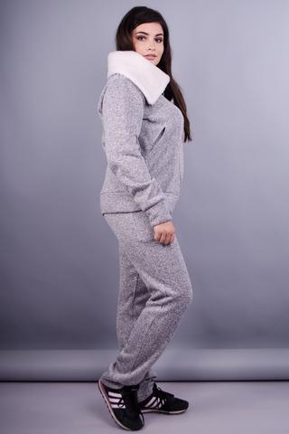 Міша. Повсякдений костюм для жінок плюс сайз. Меланж сірий.