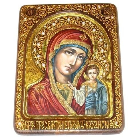 Инкрустированная живописная икона Образ Божией Матери Казанской 29х21см на натуральном кипарисе в подарочной коробке