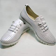 Летние туфли на низком ходу женские Mi Lord 2007 White-Pearl.