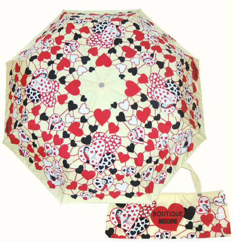 Купить онлайн Зонт складной Moschino Boutique 7007-I Olivia Hearts в магазине Зонтофф.