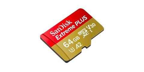 SanDisk microSDXC 64GB Class 10 UHS-I A2 C10 V30 U3 Extreme Plus (SD адаптер) 170MB/s