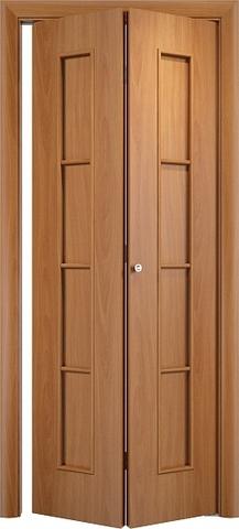 Дверь складная Верда С-14 (2 полотна), цвет миланский орех, глухая