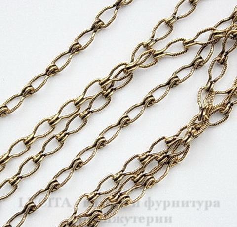 Винтажная цепь (звено 4.5х3 мм) (оксид латуни), 10 cм