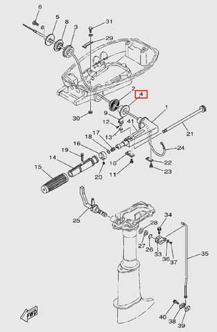 Втулка румпеля  для лодочного мотора  T5 Sea-PRO (9-4)