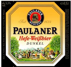 Пиво Paulaner Hefe-Weissbier Dunkel