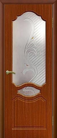Дверь Сибирь Профиль Венеция, цвет итальянский орех, остекленная