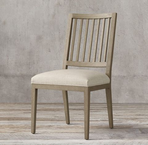 French Contemporary Slat-Back Fabric Side Chair