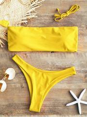 Купальник раздельный бандо желтый