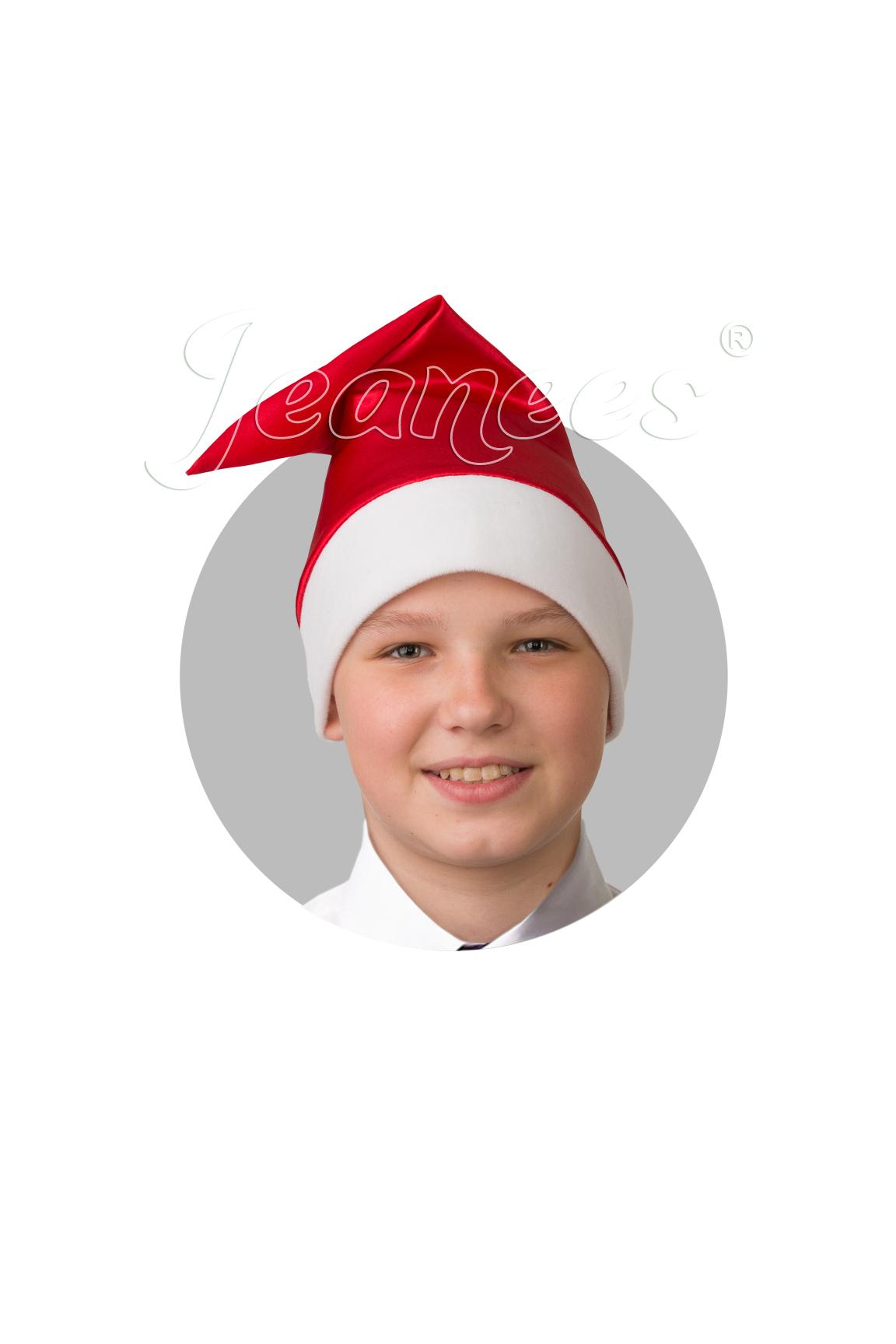 Колпак Деда Мороза сатин красный