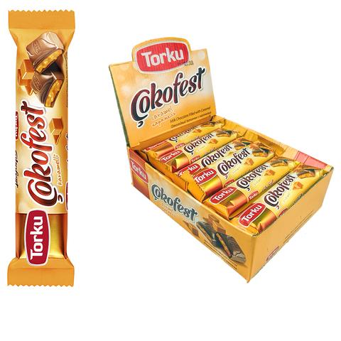 COKOFEST Шоколадный батончик с карамелью 1кор*6бл*24шт 35гр.